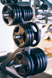 Set of metal barbells disks on barbell holder in the fitness gym Royalty Free Stock Photography