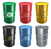 Set of metal barrels Stock Image