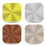 Set of metal button isolated gold silver bronze titanium Royalty Free Stock Photography