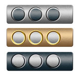 Set of metal buttons for computing and web design. Metal boards with buttons for computing and web design Royalty Free Stock Photography