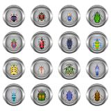 Set of metal buttons for web, round, with images of beetles. On a transparent background Stock Photo