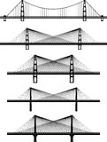 Set of metal cable suspension bridges. Vector black illustrations, silhouettes, white background Royalty Free Stock Photography
