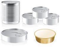 Set of metal cans for design stock illustration