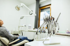 Set Of Metal Dentist's Medical Equipment Tools In Dental Clinic Stock Photography