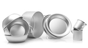 Set of metal dishes Royalty Free Stock Photo