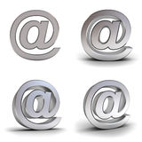 Set of metal email signs over white background Royalty Free Stock Photos