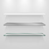 Set of metal, glass and plastic 3d vector shelves on gray wall Royalty Free Stock Photography