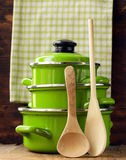 Set of metal green pots cookware Royalty Free Stock Images