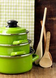 Set of metal green pots cookware Stock Photography