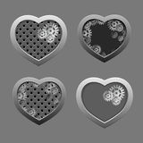 Set of Metal hearts with silver gears Stock Photography