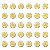 Set of metal icons with shadows on golden circles Stock Photos