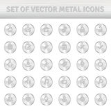 Set of metal icons on silver circles Stock Photo