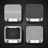 Set of metal ios icons. Set of metal textures for mobile apps Royalty Free Stock Photography