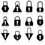 Set of metal locks of different shapes Royalty Free Stock Photos
