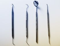 Set of metal medical equipment tools for teeth Stock Photo