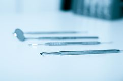 Set of metal medical equipment tools for teeth Royalty Free Stock Images
