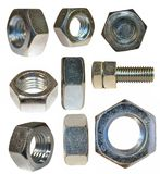 Set metal nut isolated Stock Images