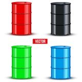 Set of metal oil barrels. Vector illustration on Royalty Free Stock Photography