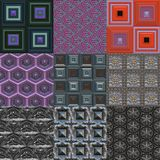 Set of metal pattern generated textures Stock Photos