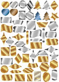 Set of metal plates. Of different shapes and colors with rivets Stock Images