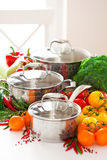 Set of metal pots cookware and fresh vegetables Stock Images