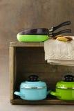 Set of metal pots cookware Stock Photos