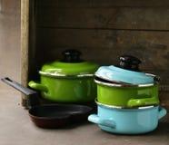 Set of metal pots cookware Stock Photo