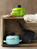 Set of metal pots cookware Royalty Free Stock Image
