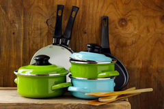 Set of metal pots cookware Royalty Free Stock Images