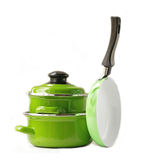 Set of metal pots and pan cookware stock photography