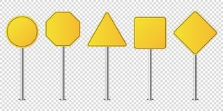 Set of metal road signs isolated blank. Vector royalty free illustration