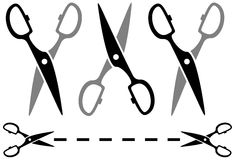 Set metal scissors with dotted line Royalty Free Stock Photography