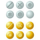 Set of metal screws, bolts icons. Isolated vector illustration vector illustration