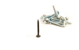 Set of metal screws on the white background. One black the other Royalty Free Stock Photo