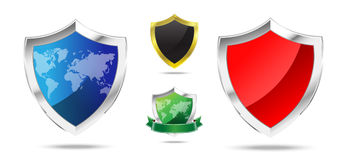 Set of metal shield vector illustration Royalty Free Stock Images