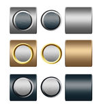 Set of metal silver gold push buttons for design Royalty Free Stock Photo