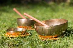 Set of singing bowls in the own garden, zen outdoors. Set of metal singing bowls in the grass of the own garden, zen wellness massage buddhism yoga alternative royalty free stock photo