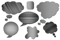 Set of metal Speech Bubbles. Metal bubbles for speech on white background. Abstract design. Set of metal Speech Bubbles Royalty Free Stock Image