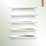 Set of Metal or Steel Shelves Vector Isolated on the Wall Backgr Royalty Free Stock Photography