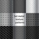 Set of metal texture seamless patterns Stock Image