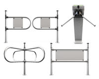Set of metal turnstiles and partitions isolated  Stock Images