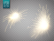 Set of metal welding with sparks or sparklers isolated Stock Images