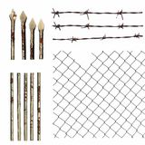 Set metal wire fence protection isolated on white Royalty Free Stock Photos