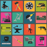 Set of metal working tools icons Stock Images