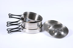 Set metali naczynia dla turystyki Obrazy Stock