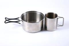 Set metali naczynia dla turystyki Zdjęcia Stock