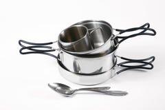 Set metali naczynia dla turystyki Obraz Royalty Free