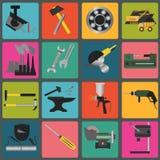 Set metali pracujących narzędzi ikony Obrazy Stock