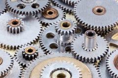 Set metali przemysłowi gearwheels dla maszynerii zbliżenia Fotografia Stock