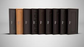Set metali wejściowi drzwi zamykał 3d rendering na szarym backgrou ilustracja wektor